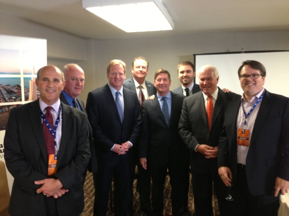 Steve Van Dorn, Santa Clara Chamber President & CEO is pictured (back center) with NFL Commissioner Roger Goodall (to Steve's left),San Francisco Travel President Joe D'Alessandro (on Steve's right), and other key members of the bid presentation in Boston at the NFL's Super Bowl Selection event.