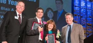 Co-Ambassadors of the Year John Waller and Lidia Blair (middle) with Santa Clara Chamber of Commerce & CVB CEO Steve Van Dorn (left) and Chair David Tobkin (right).