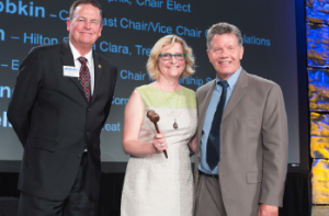 Presentation of the gavel (left to right): Steve Van Dorn, Chair Elizabeth Williams and Past Chair Dave Tobkin.