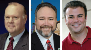 Santa Clara Chamber PAC-endorsed City Council candidates include Councilman Pat Kolstad (left), Mayor Jamie Matthews (center), and Dominic Caserta (right).